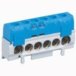Bornier de répartition neutre - 1 connexion 10 à 35 mm² - bleu - L 62 mm