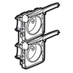 Prises 16A - 2x2P+T - vertical précâblées - Programme Plexo composable blanc - 250 V