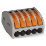 Borne pour boîte de dérivation borne à 5 conducteurs avec leviers de manipulation - Boîte de 40 pièces